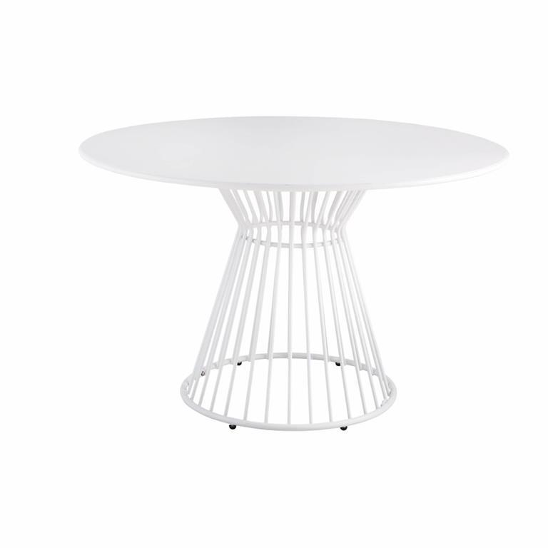 Table de jardin ronde en métal blanc mat 4 personnes D120 Meknes