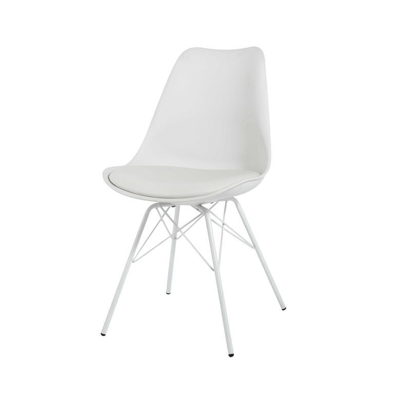 Chaise blanche en polypropylène et métal blanc Coventry