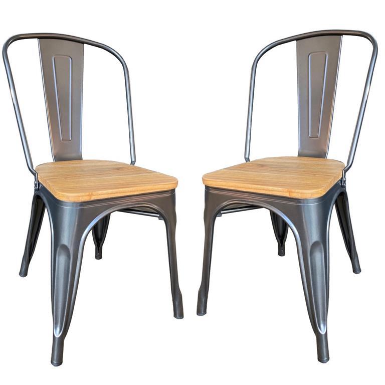 Lot de 2 Chaises de repas acier gris et bois clair