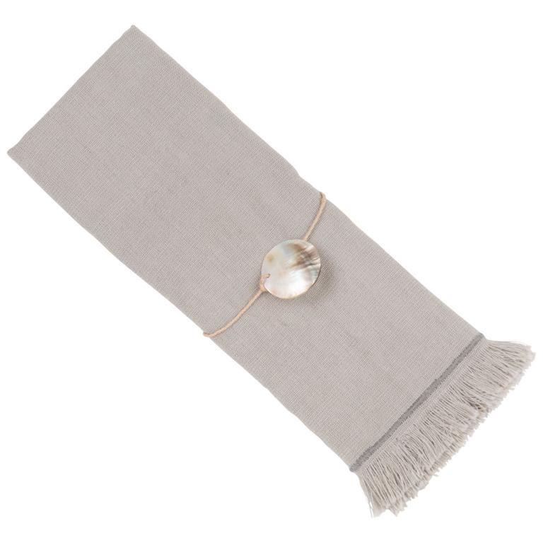 Serviette en coton et rond de serviette gris 40x40