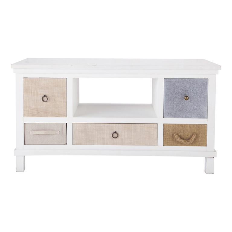 Meuble tv en bois blanc l 110 cm ouessant maisons du monde for Meuble tv en bois blanc
