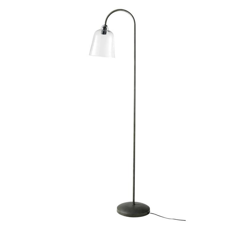 Lampadaire en métal noir et verre H157