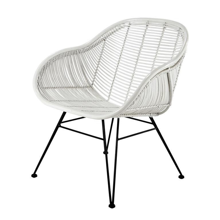fauteuil en rotin blanc pitaya maisons du monde ref 155619. Black Bedroom Furniture Sets. Home Design Ideas