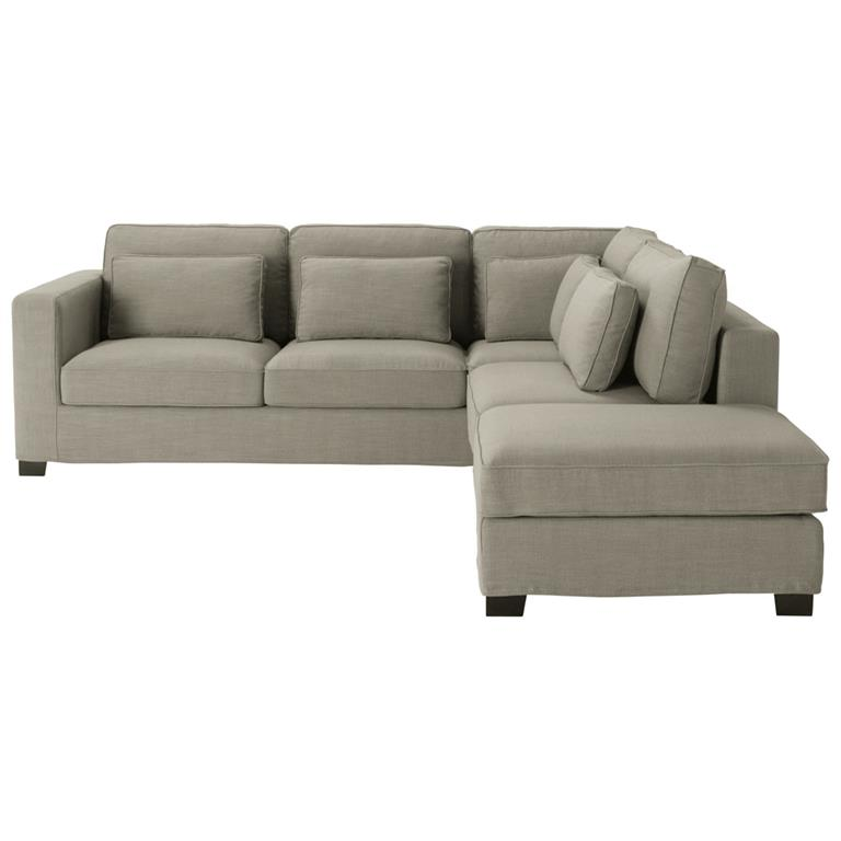 Canapé d'angle 5 places en tissu gris Milano
