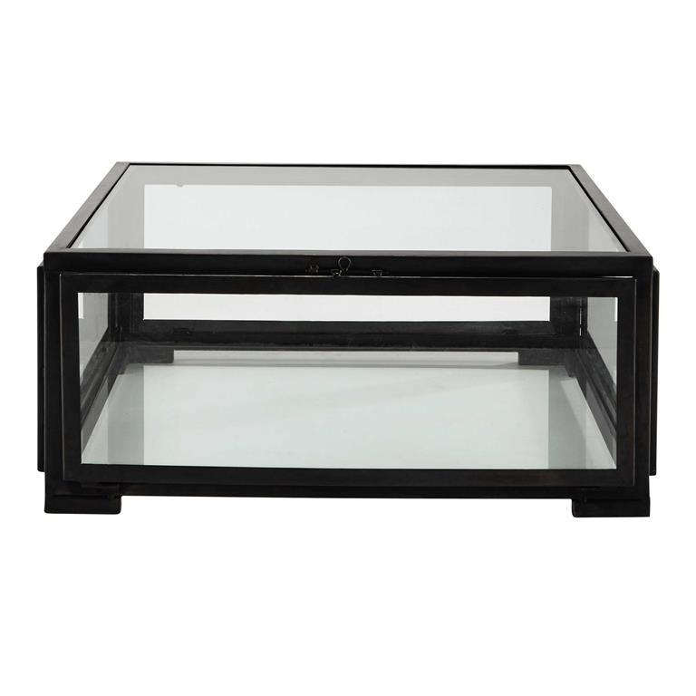 Table Basse Carr E En Verre Et M Tal Noire L 80 Cm Alphonse