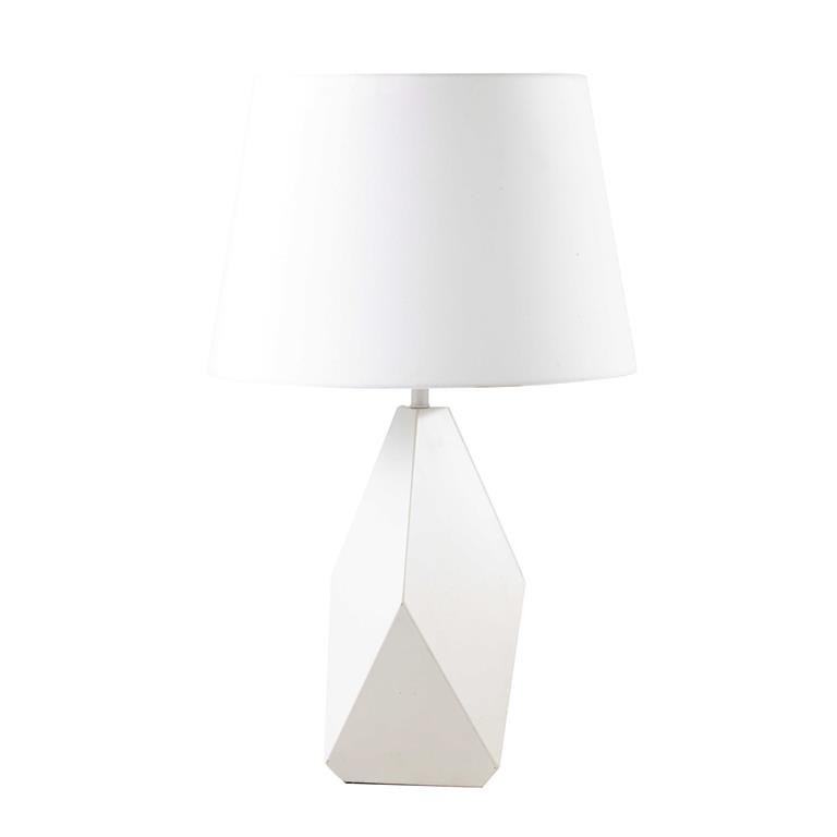 Lampe en métal et abat-jour en coton blanche H 69 cm BONIFACIO