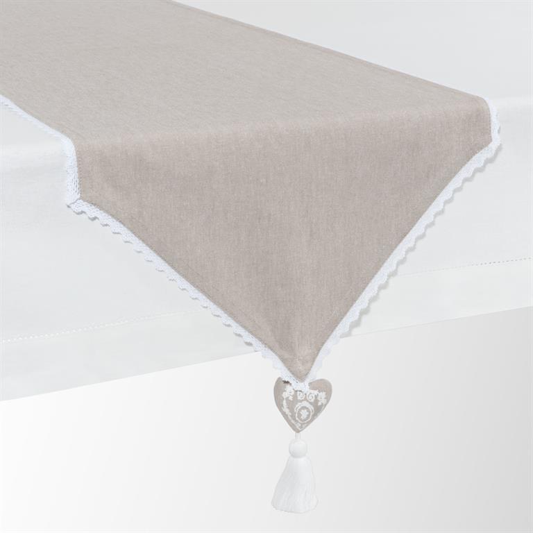 chemin de table en coton beige l 150 cm camille maisons du. Black Bedroom Furniture Sets. Home Design Ideas