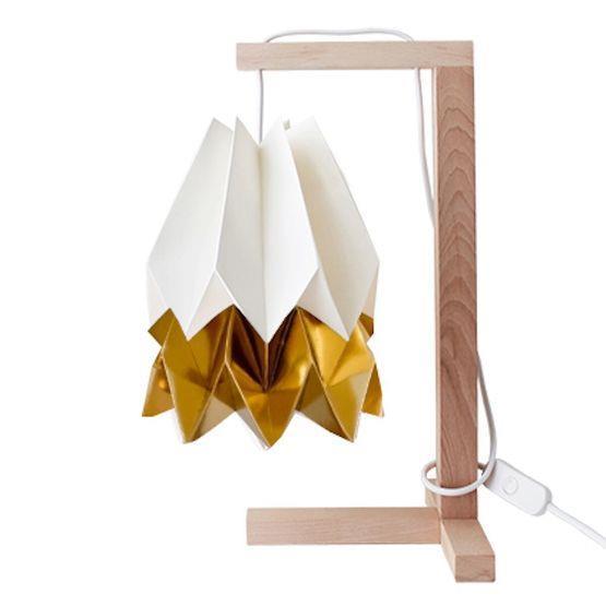 Lampe à poser blanche et dorée - Orikomi