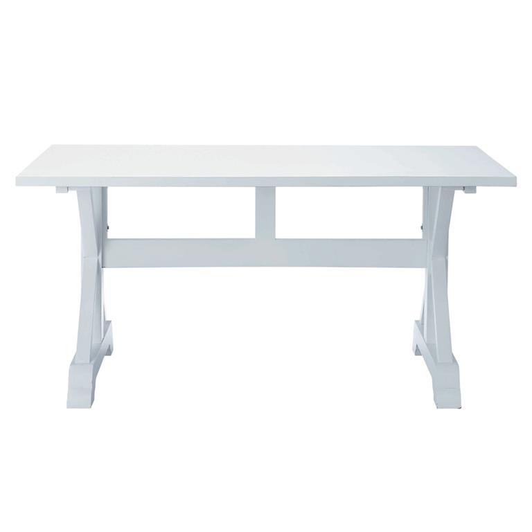 Table de salle à manger en bois blanche L 160 cm Atlantique
