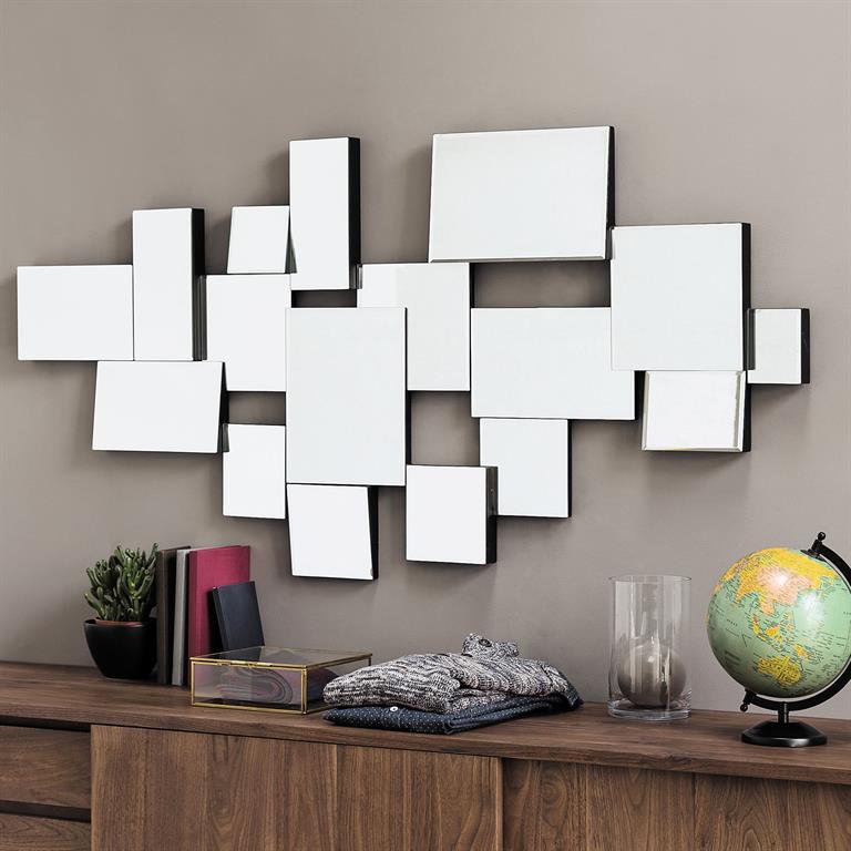 Miroir biseaut en bois noir h 140 cm graphic maisons du monde for Miroir moderne