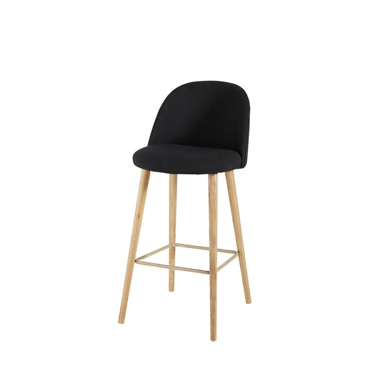 Chaise de bar vintage noire et frêne massif Mauricette