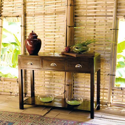 Table console en teck massif et bambou L 110 cm Bamboo