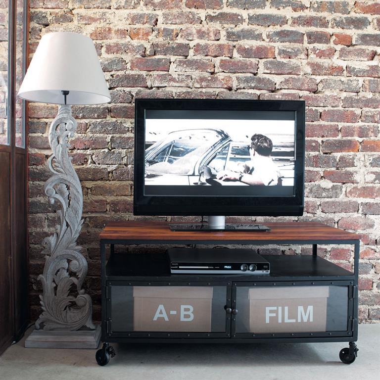 Meuble TV à roulettes en métal et sheesham massif noir L110 Industry