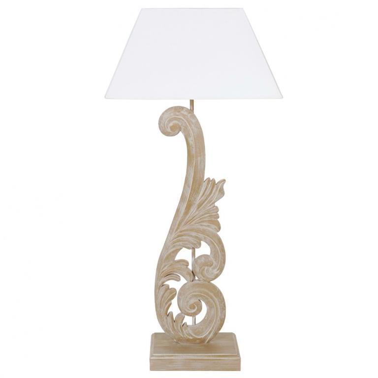 Lampe en bois et abat-jour en tissu blanc H 73 cm ARABESQUE