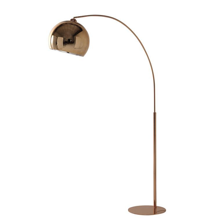 Lampadaire en métal cuivré et Plexiglas® H195