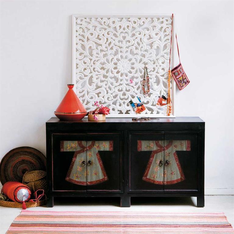 Buffet à motifs en bois noir et rouge L 130 cm Kimono