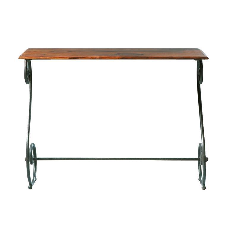 Table console en fer forgé et bois de sheesham massif L 100