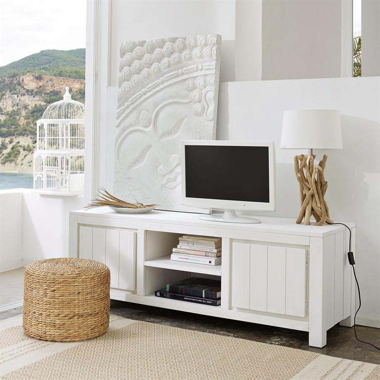 Meuble Tv En Bois Massif Blanc L 145 Cm White Maisons Du Monde