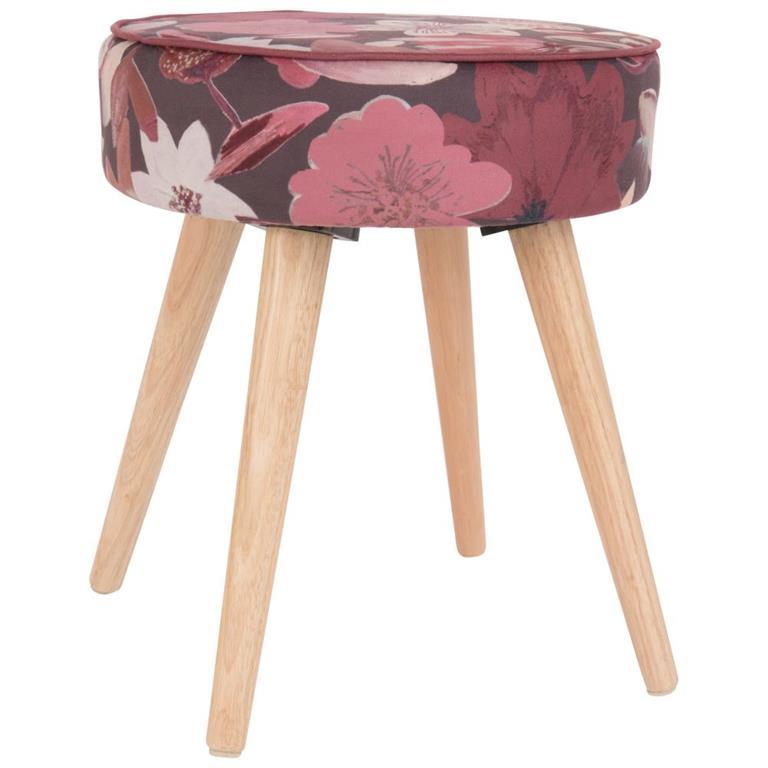 Tabouret motif floral et pieds en chêne