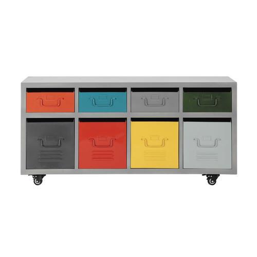 Cabinet à roulettes 8 tiroirs en métal multicolore Freestyle