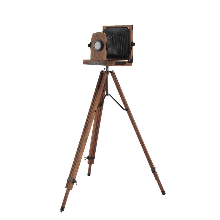 Appareil photo décoratif sur pied en bois et métal noir H 113