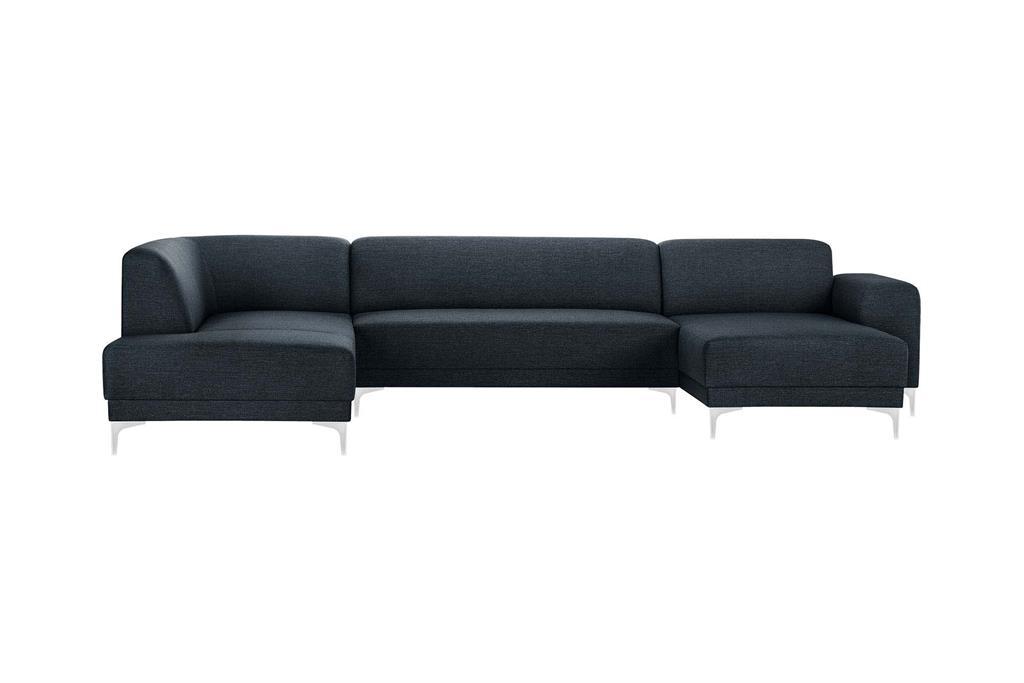 Canapé d'angle droit 6 places toucher lin bleu marine