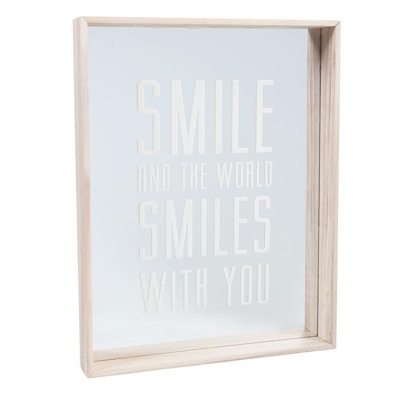 Miroir avec impression en bois H 45 cm SMILE TO THE WORLD