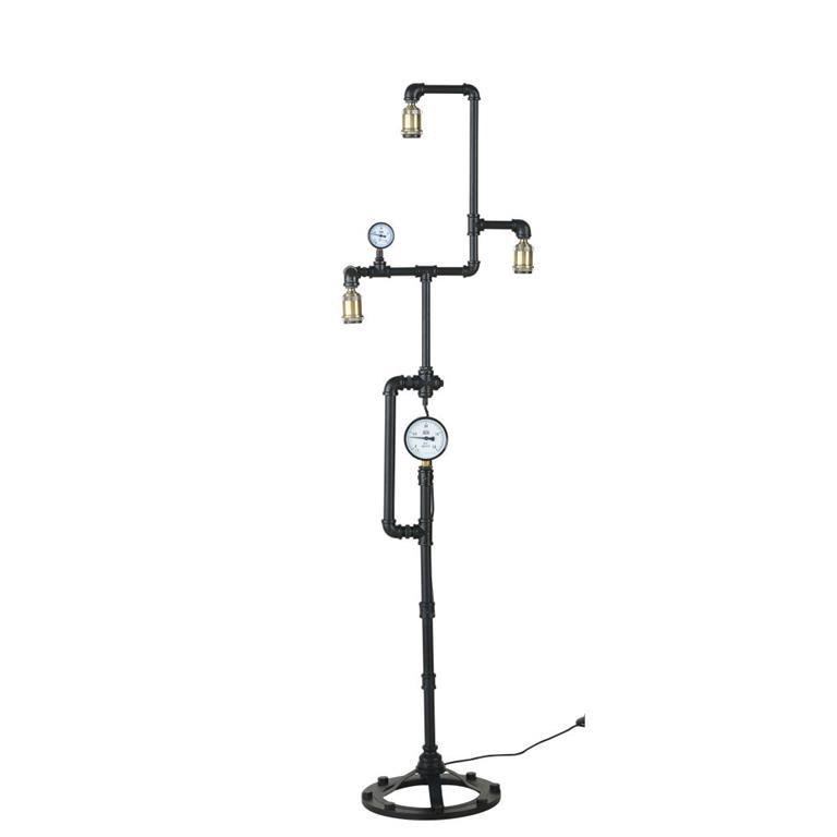 Lampadaire tuyau en métal noir et doré effet vieilli H163