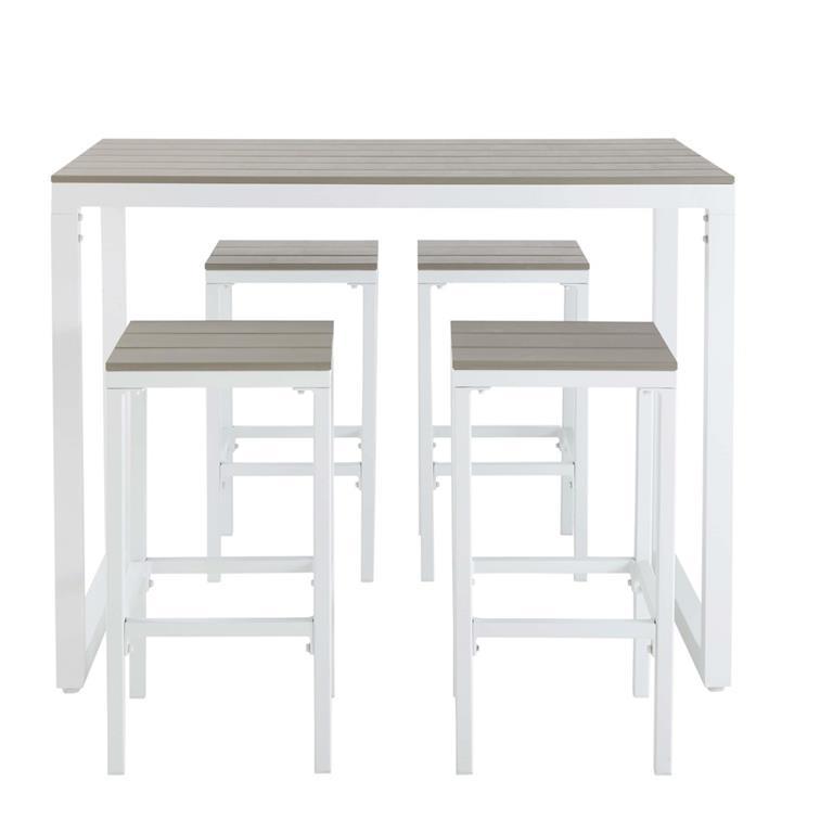 Table de jardin haute avec 4 tabourets en aluminium L128 Escale