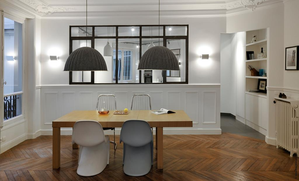 R novation appartement haussmannien tre cr atif sans for Salle a manger avec banc