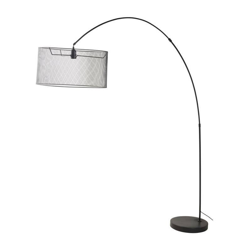 Lampadaire en métal noir et abat-jour grillagé H195