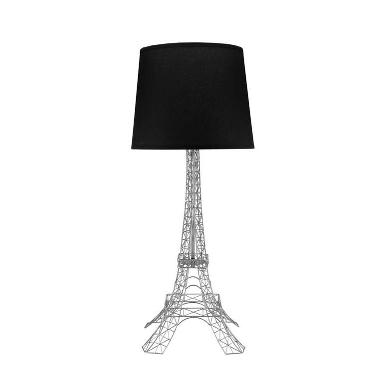 Lampe en métal et abat-jour en coton noire H 73 cm MONUMENT