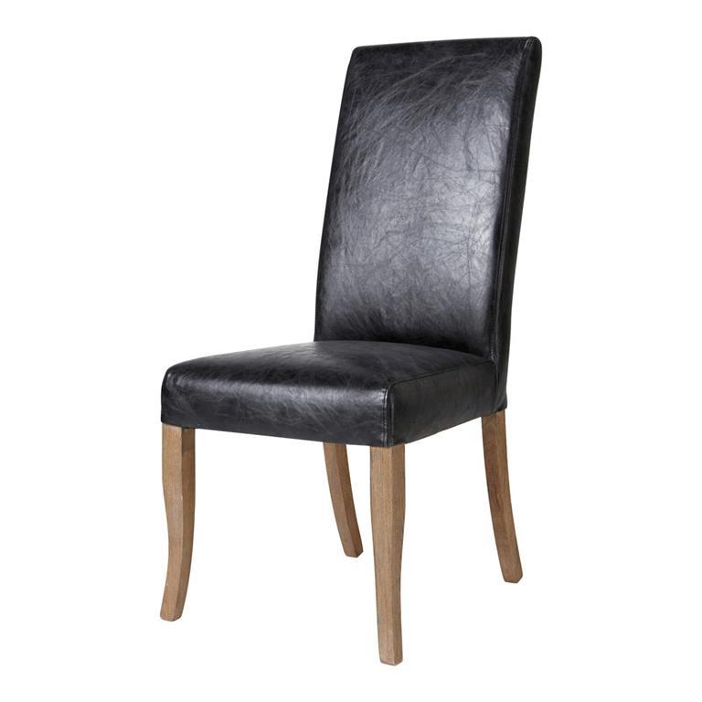 Chaise en cuir et chêne massif noire Vintage