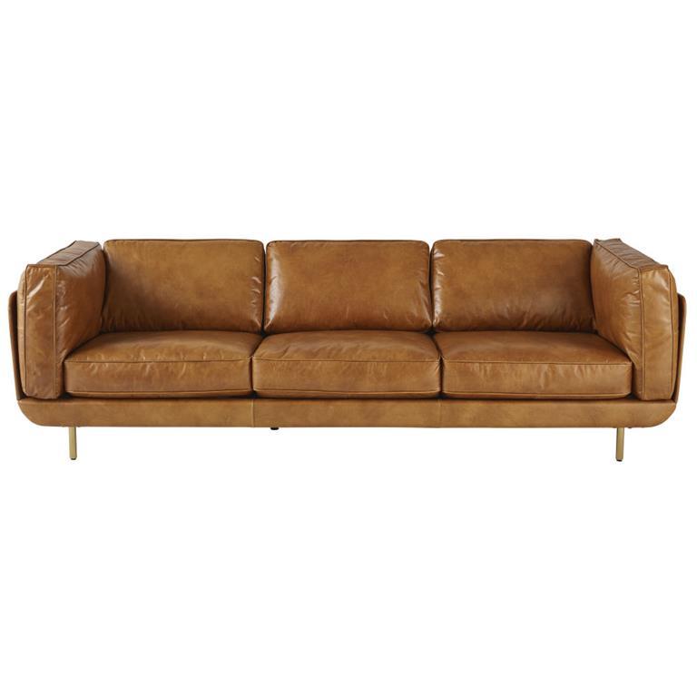 Canapé 4 places en cuir marron Golden Eye