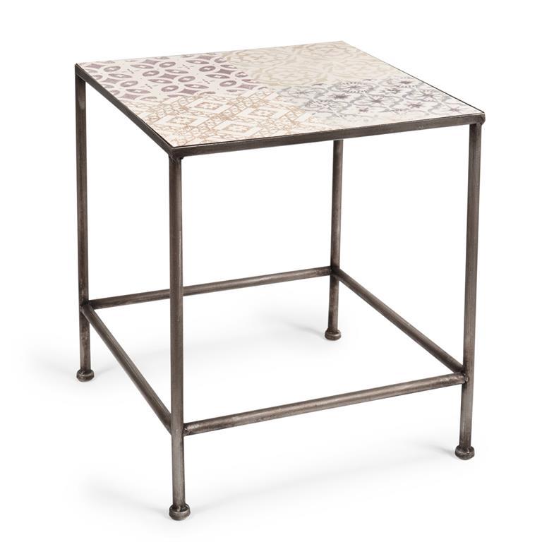Bout de canapé en métal 35 x 41 cm CARREAUX D'ANTAN
