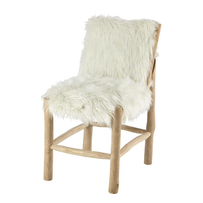 Chaise en fausse fourrure et teck blanche Alaska