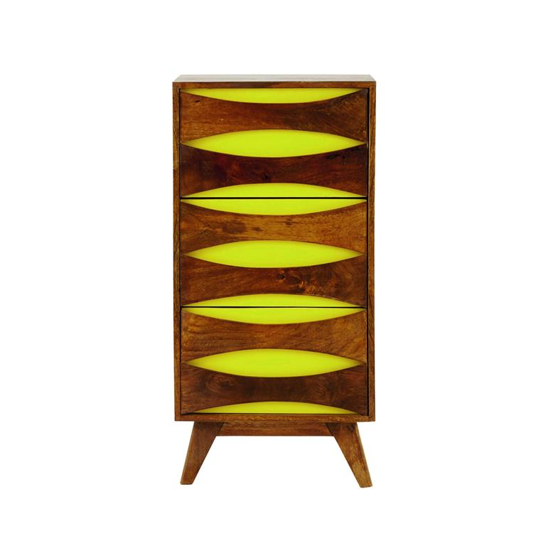 cabinet de rangement en manguier massif jaune l 45 cm moon. Black Bedroom Furniture Sets. Home Design Ideas