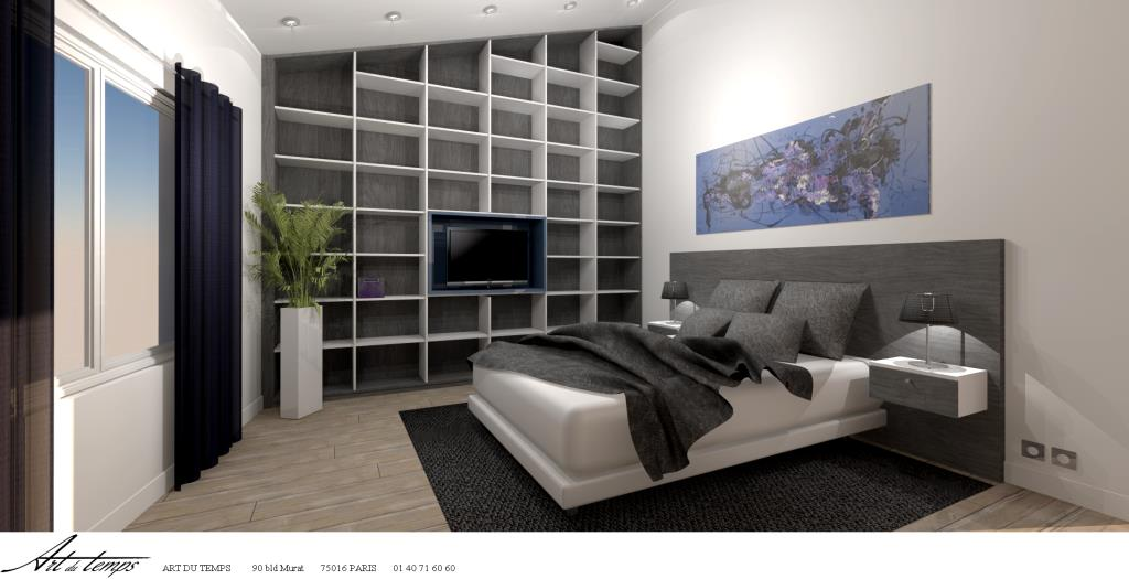 chambre adultes avec t te de lit et biblioth que sur mesure. Black Bedroom Furniture Sets. Home Design Ideas