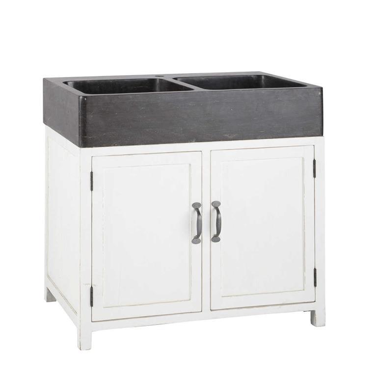 Meuble bas de cuisine avec évier en bois recyclé blanc L 90
