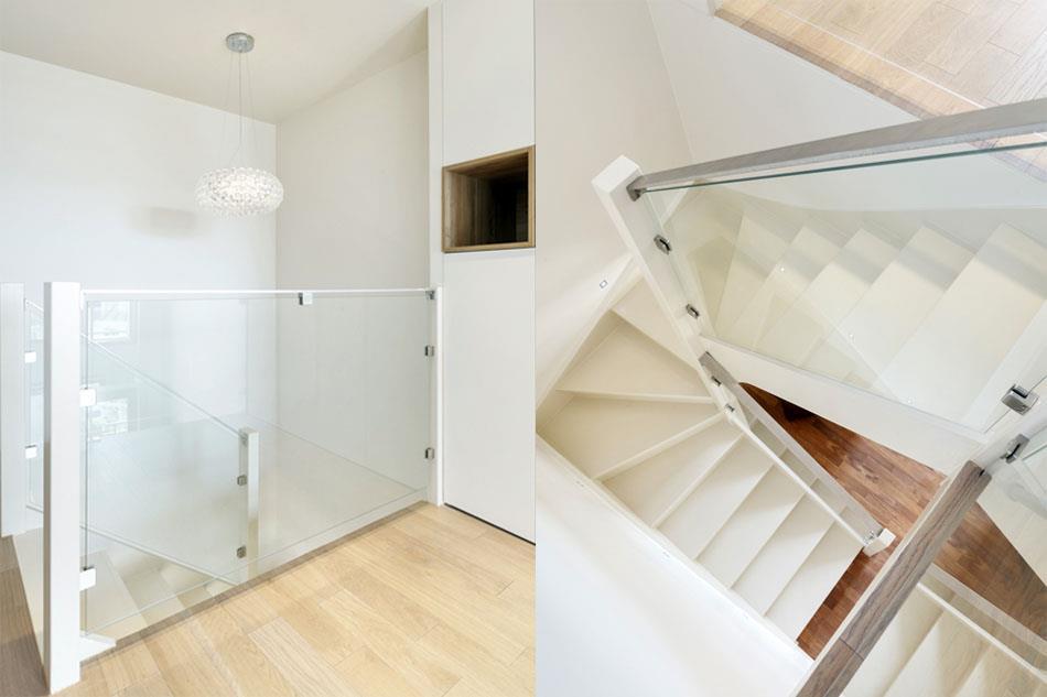 Escalier deux quarts tournants en bois peint blanc - Escalier peint en blanc ...