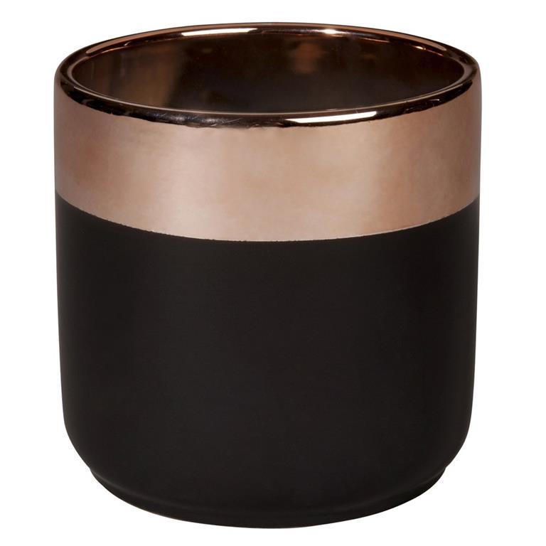 Cache-pot en céramique gris charbon et cuivrée H13
