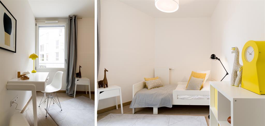 Chambre d\'enfant blanche avec touches de jaune Samson Interiors