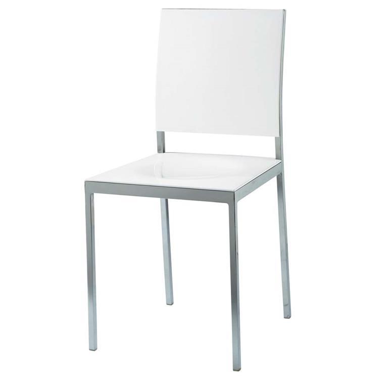 Chaise en plastique et métal blanche Oslo