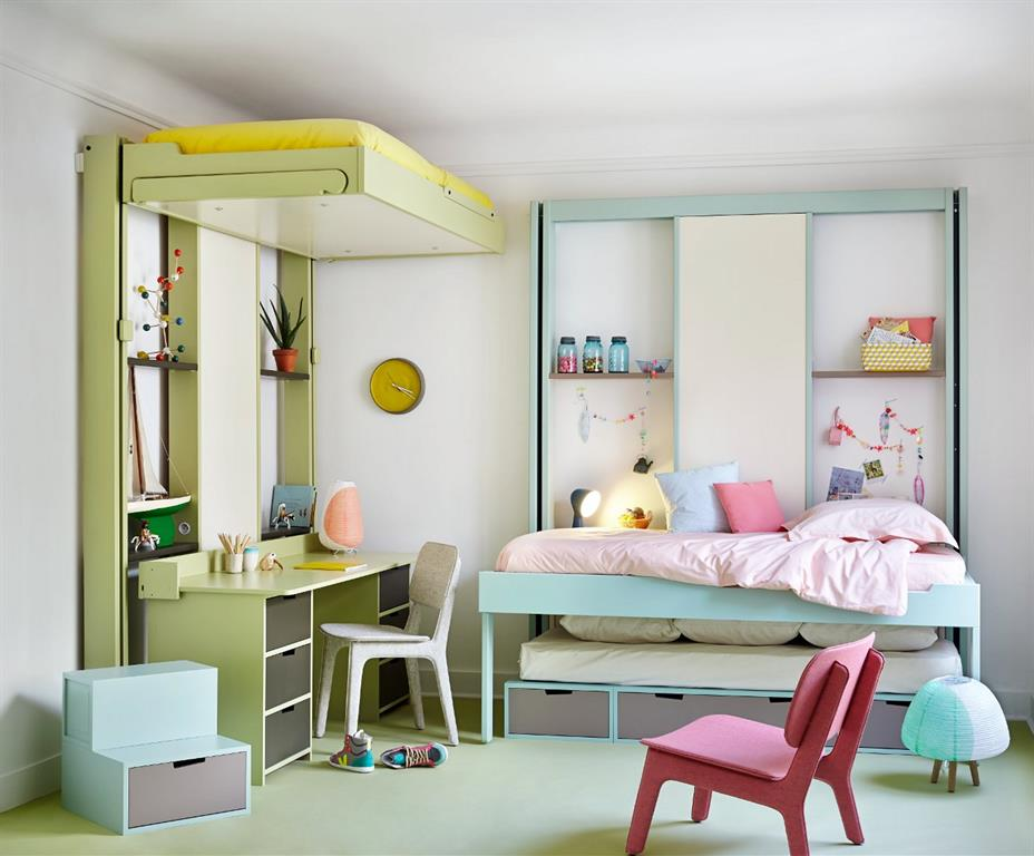 Chambre d'enfants avec lits escamotables