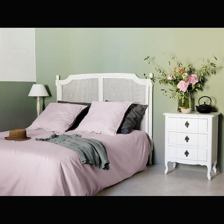Table de chevet avec tiroirs en bois blanche L 57 cm Comtesse