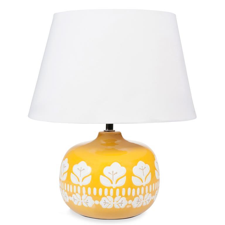 Lampe en céramique jaune H 40 cm VINTAGE
