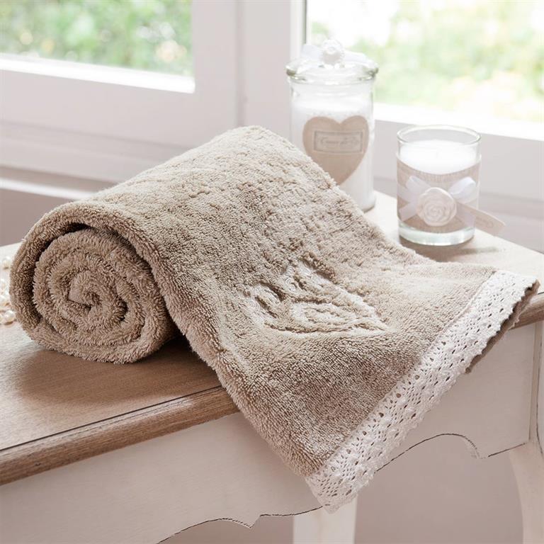Serviette de bain en coton beige 50x100 CAMILLE