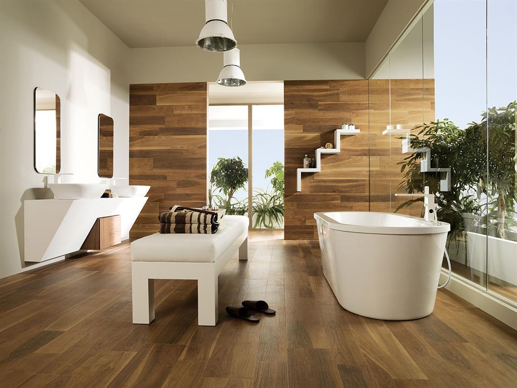 12 salles de bains pour choisir son carrelage et sa fa ence for Salle de bain carrelage parquet