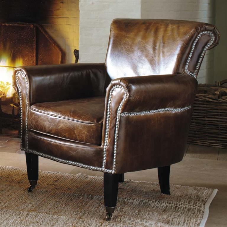Awesome fauteuil en cuir marron effet vieilli cambridge with fauteuil baudelaire maison du monde