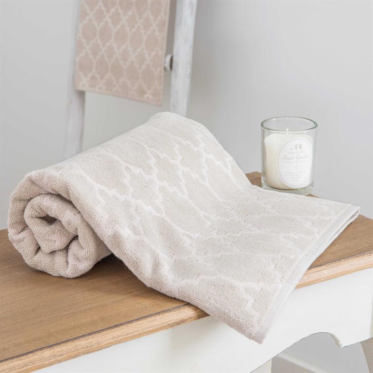 Serviette de bain beige à motifs 70x140cm NESTOR